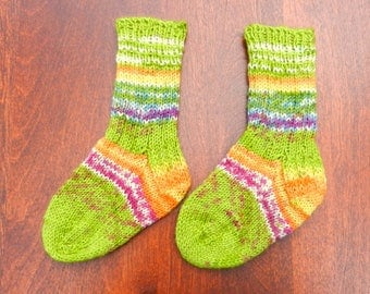 Baby socks hand knitted wool and nylon multi coloured   ideal baby gift