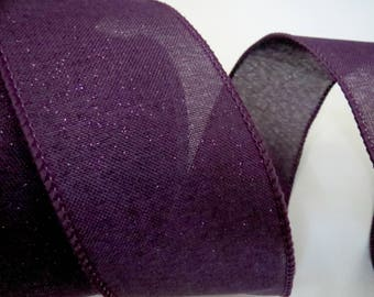 "Purple Ribbon, 2 1/2"" x 10yds, Wired, Royal Burlap, Shimmer Sparkle Ribbon, Fall Ribbon, Summer Ribbon, Wreath Supply, Craft Ribbon, P2a"