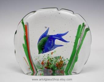 Murano fish aquarium glass block