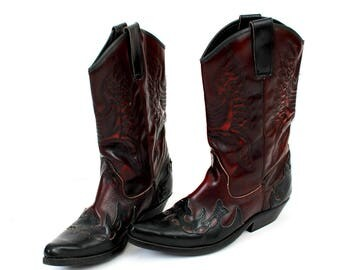 Vintage Western Boots / Western Boots / Tall Boots / Burgundy Boots / Cowboy Boots / Real leather Boots / Size EU40 / UK7 / US7'5