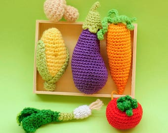 Crochet cooking pot set with vegetables, Soft play food, amigurumi play food, Food Plushie FREE SHIPPING