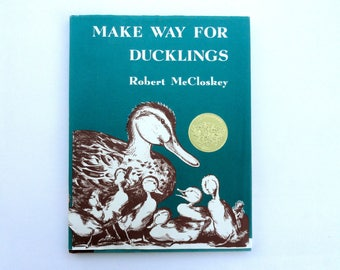 1960s Children's Book, Vintage Make Way for Ducklings by Robert McCloskey Award Winning Book, Iconic Picture Book Duck Family in Boston Mass