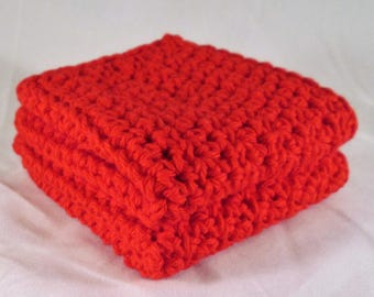 Red Washcloth, Kitchen Towels, Cotton Spa Set, Crochet Spa Set, Facial Cloths, Red Dishcloth, Kitchen Cloth, Birthday Gift Ideas