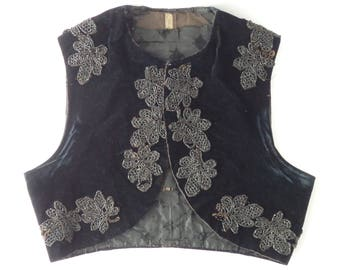 Antique Vest Beaded Velvet Black Jet Beads Edwardian Petite Size Bolero Vest XXS Silk Lining Vintage Womens Clothing Costume Reenactment