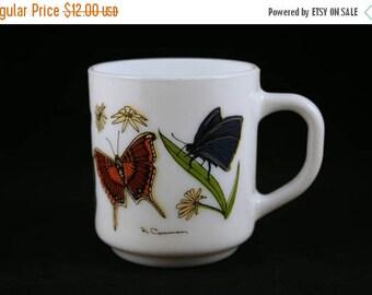 SALE Arcopal France Butterfly Mug, White Milk Glass Coffee Mug, R. Carmen Butterfly Mug, Vintage Glass Coffee Mug, 7 oz Mug, Monarch Butterf