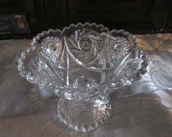 """Gorgeous Clear Glass """"Comet in the Stars"""" Pedestal Compote/Candy Dish by L.E. Smith Co."""