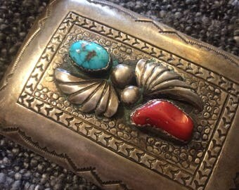 Beautiful handmade sterling silver, coral, turquoise belt buckle