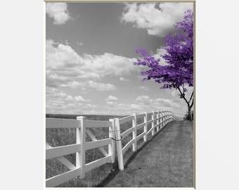 Black White Purple Wall Art, Modern Purple Tree Landscape, Purple Home  Decor Wall Art