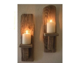 2 Irish Driftwood Style Wall Sconces Candles Handcrafted Ireland Driftwood  Decor Country Cottage Reclaimed Wood Homewares