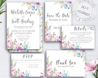 Floral Wedding Suite, Wedding Set, Editable Invitation, Wedding Invite, Save the Date,Response Card,Wedding Invite Suite,Botanical,RSVP Card
