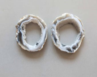 A Pair Natural Druzy Agate Geode Slices C5189