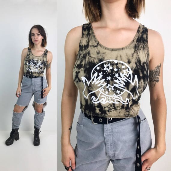 Crystal Ball Tie Dye Bleach Tank - Black & White Gypsy Witchy Tank Crop Top - The Cosmic Circle Logo Screen Printed Cotton Crop Upcycled