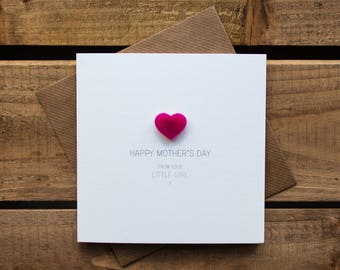 Happy Mothers Day from your Little Girl Card with magnetic Love Heart Keepsake // Mother's Day // From Daughter // Magnet Card