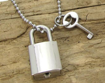 Silver Padlock Necklace, 33x16mm Padlock with 22x12mm Key and Working Lock, Item 1437m