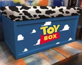 Toy Story Box Custom Ottoman  Toy Box Storage Handprinted With Seat Personalised