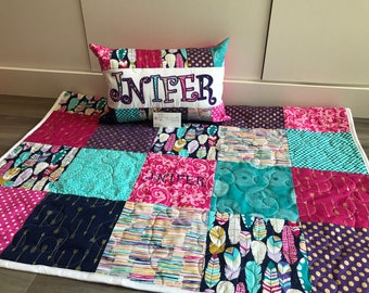 Arrow flight, boho feather baby quilt and pillow set