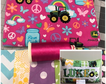 NEW! Girls tractor personalized pillow case, 12x18 in, made from licensed John Deere Fabric