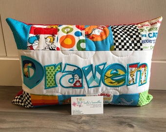 Pillow case made from licensed Seuss fabric, 12x18 inches