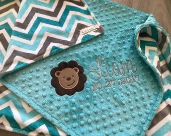 Teal and Grey Chevron Double sided Minky Baby Blanket, SALE!