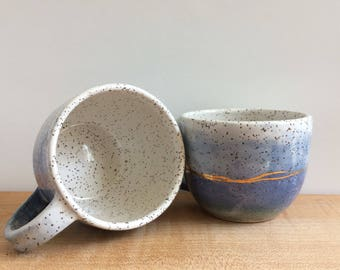 Horizon Tea Cup Set, Blue, Green and White with Gold Details, Hand Made Ceramic Mugs