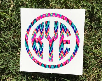 Lilly Inspired Monogram Car Decal