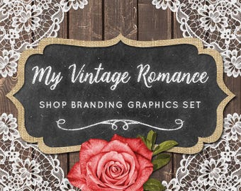 Rustic Wood & Lace Shop Branding Cover Photo Banners, Icons, Business Card, Logo Label + More - 13 Premade Graphics - MY VINTAGE ROMANCE