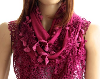 Pink lace Cotton shawl, pink lace scarf, gift ideas, trending items, scarves, fashion, woman accessories, accessories , pink shawl, scarf