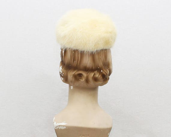 Vintage 1950s Platinum Blonde Mink Fur Hat by Miss Alice