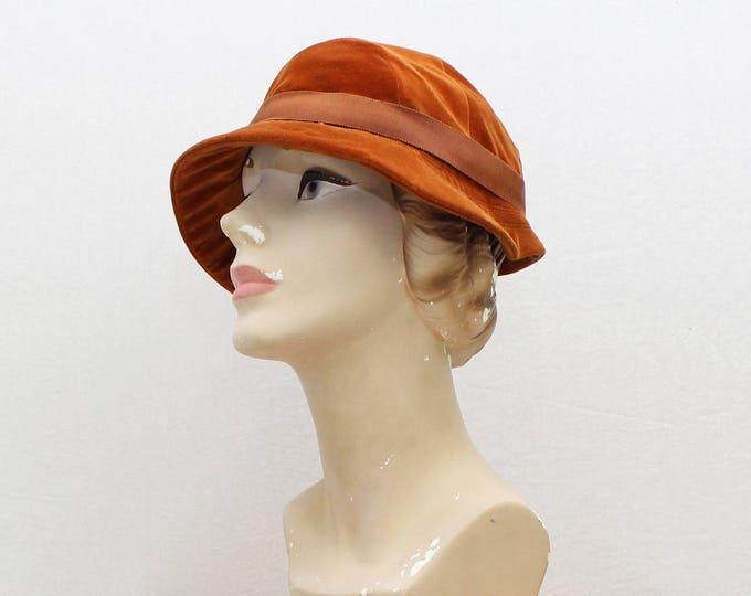 Vintage 1960s Orange Velveteen Hat - 22 Inch Circumference