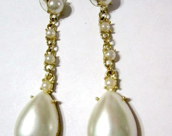 ON SALE Vintage Long Dangle Faux Pearl Fancy Tear Drop Shape Earrings Pierced