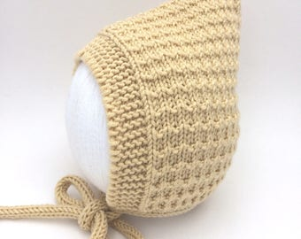 Yellow Pixie Bonnet, Hand Knitted Baby Hat, Baby Shower Gift, Various Sizes Made to Order, Luxury Baby Knits, Merino, Silk & Cashmere Yarn
