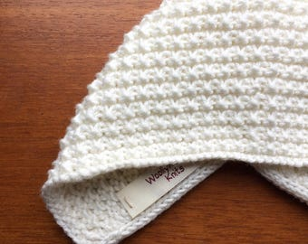 Inga Knit Baby Bonnet in Alabaster