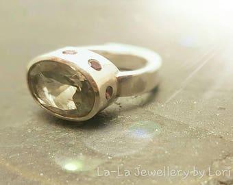 Ring, Sterling Silver with Green Prasiolite