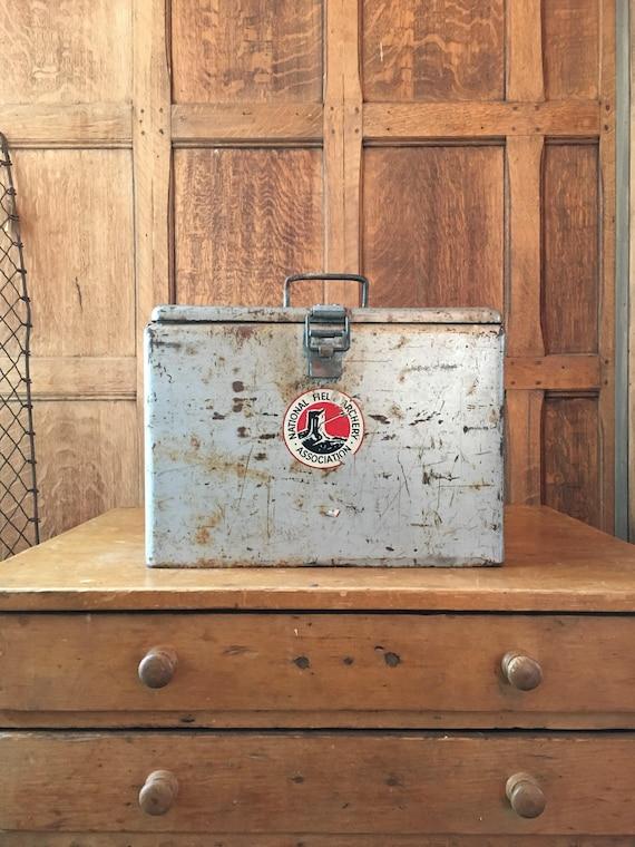 Vintage Metal Cooler, Beer Cooler, Small Portable Cooler, Industrial Storage Decor