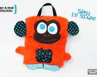 Backpack plush monkey orange fake fur fleece and cotton