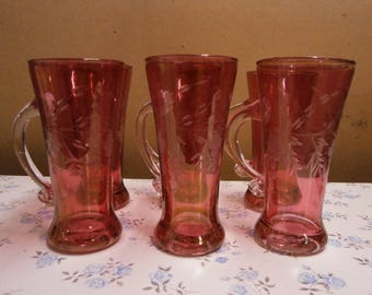 6 Overlaid Cranberry Glass Tankards - Vintage