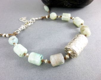 Artisan Amazonite Chakra Bracelet, Heart & Throat Chakras, Soothes and Helps Communication, Gift for Her,  Healing Crystals Chakra Jewelry