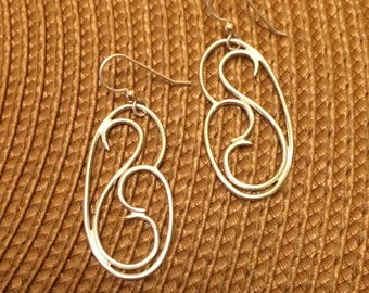 Double wave earrings in sterling silver on sterling silver ear wire with gold-filed accent granule