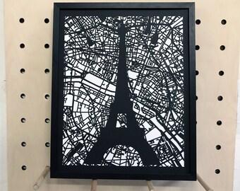 Paris map - Eiffel Tower - tour Eiffel - Carte de Paris - beau cadeau - la Ville Lumière