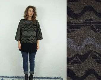 ON SALE 90's brown geometric patterned machine knitted b0oho blouse/sweater