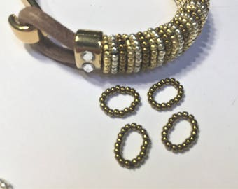 Thin Beaded Rings, Single Strand  Slider, Antique Brass Handmade Beaded Sliders, leather finding, Jewelry supplies, leather braclet
