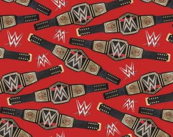 WWE John Cena Heavy Weight Champion Belt & You Can't See Me Cotton Fabric by Springs Creative! [Choose Your Cut Size]