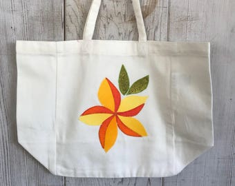 Plumeria- Mini Market Tote- Organic Cotton Twill- Handmade in Hawaii