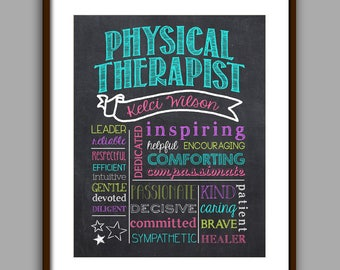Physical Therapist Chalkboard Style Color Art Printable, Personalized Physical Therapist Graduate Gift, Physical Therapist Appreciation Gift