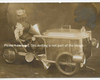 RPPC Real Photo Postcard Childrens Pedal car made from Scrap Hardware C1910