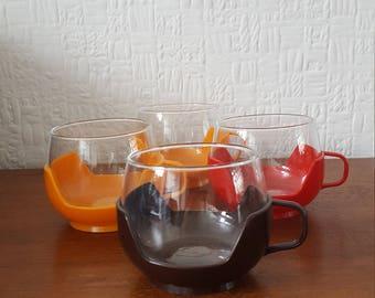 Set of 4 Camping or Picnic Cups Glass in Plastic Holders- 1970s - Retro Kitchen - Caravan/Camper van/Camping