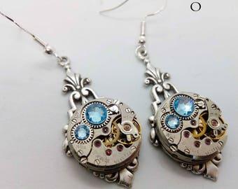 Art Deco Steampunk Earrings in Blue - Steampunk earrings - Art Deco - Jewelry - steampunk Jewellery - steampunk - art deco - gothic earrings