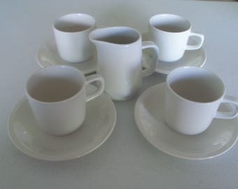 Mikasa Epiqure White 4 Cups & Saucers and Creamer