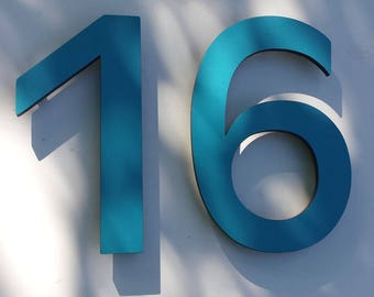 "Modern contemporary Coloured House numbers,  9"" high in Antigoni font,  standoff floating in resin board g"