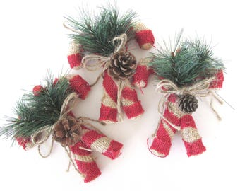 Set of 3 Candy Canes  - Christmas Ornaments - Christmas Decor